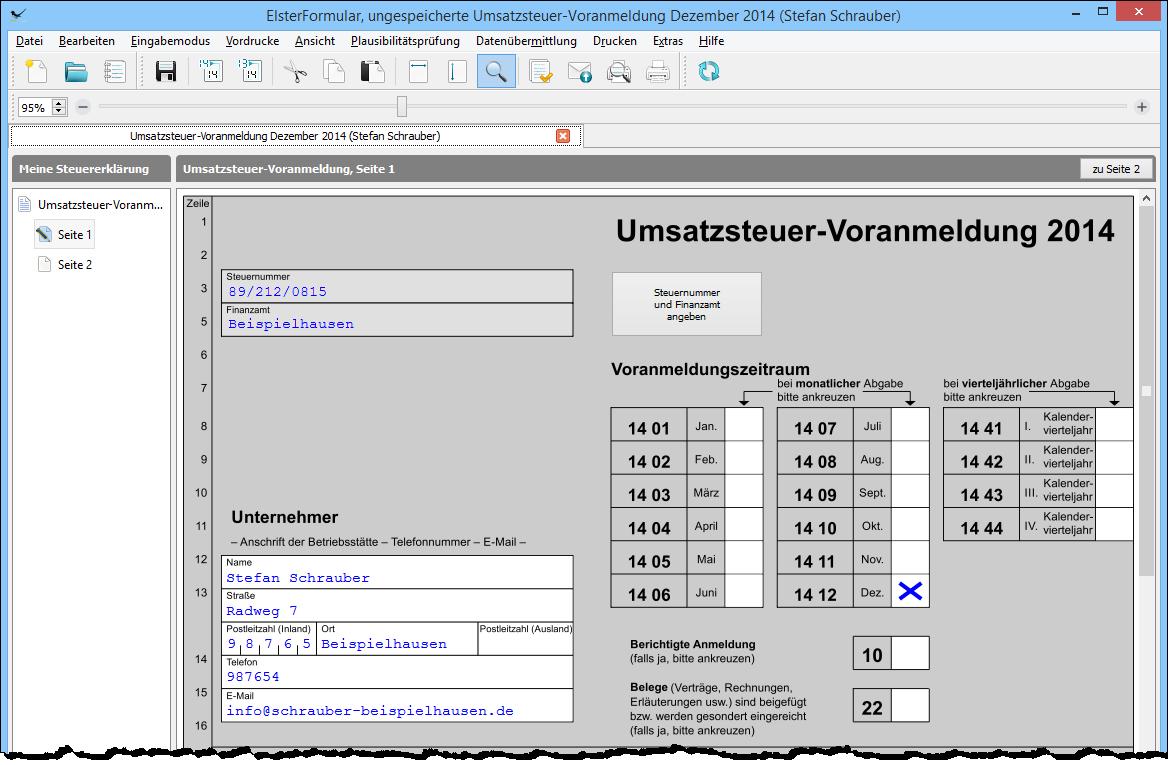 geben die adress und kontaktdaten ihres unternehmens ein - Umsatzsteuererklarung Photovoltaik Muster