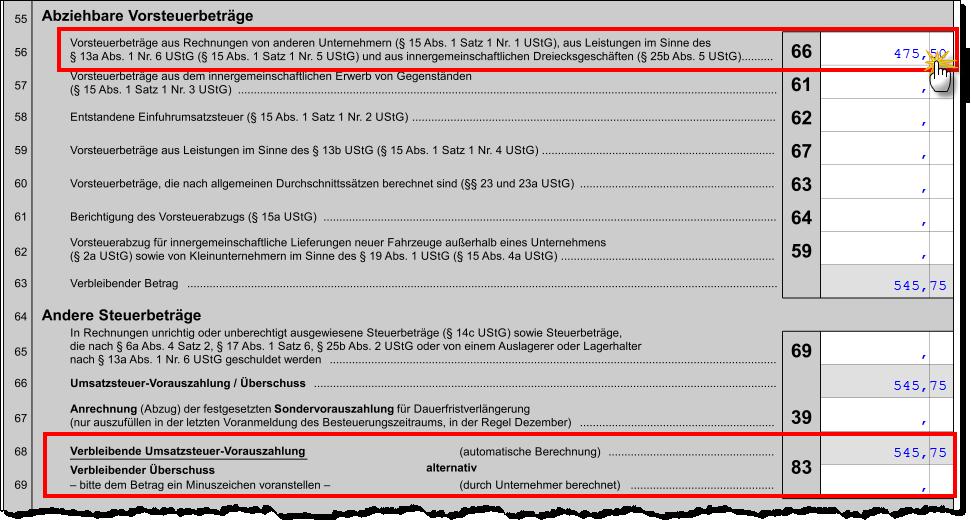 nachdem sie auf seite 2 des voranmeldeformulars noch die summe der abziehbaren vorsteuerbetrge meistens in zeile 56 eingetragen haben - Gewerbesteuer Berechnen Beispiel